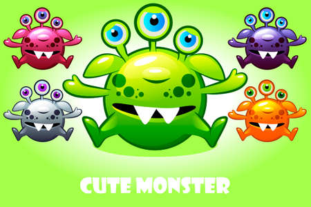 Vector cartoon cute three-eyed monster in different colors. Set funny bacteria characters