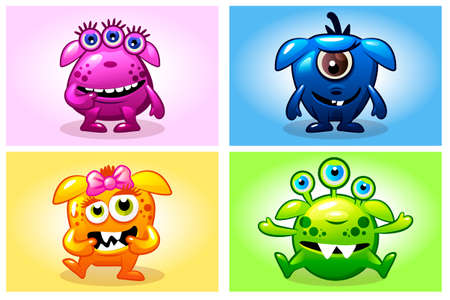 Vector cartoon collection four cute babies monsters. Big set funny bacteria characters Фото со стока - 127028959
