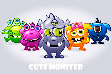 Vector cartoon collection five cute babies monsters. Big set funny bacteria characters Иллюстрация
