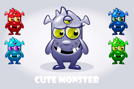 Vector Cartoon baby three-eyed monster in different colors. Set funny bacteria characters