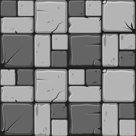 Texture of gray stone tiles, seamless background stone wall. Ilustration for user interface of the game element. Color 2 of 10