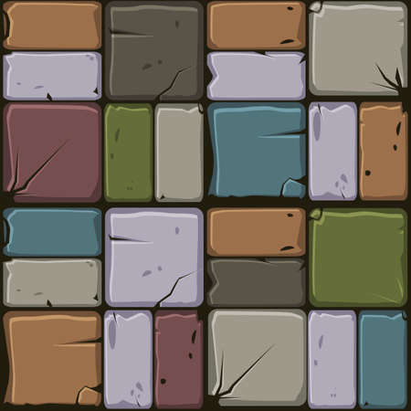 Texture of colored stone tiles, seamless background stone wall. Ilustration for user interface of the game element. Color 5 of 10 Фото со стока - 126897194