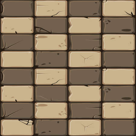 Texture of brown stone tiles, seamless background stone wall. Ilustration for user interface of the game element. Color 6 of 10 Иллюстрация