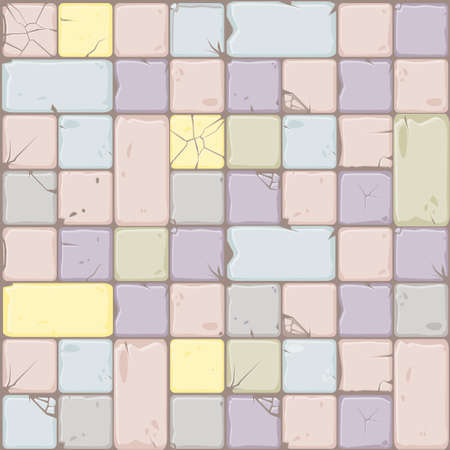 Texture of pastel colors stone tiles, seamless background stone wall. Ilustration for user interface of the game element. Color 7 of 10