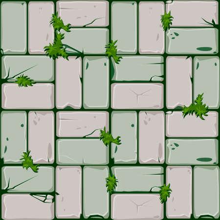 Textur von Steinfliesen, nahtlose Hintergrundsteinmauer und Gras. Illustration für die Benutzeroberfläche des Spielelements. Farbe 8 von 10 Vektorgrafik