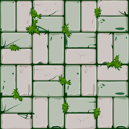 Texture of stone tiles, seamless background stone wall and grass. Ilustration for user interface of the game element. Color 8 of 10