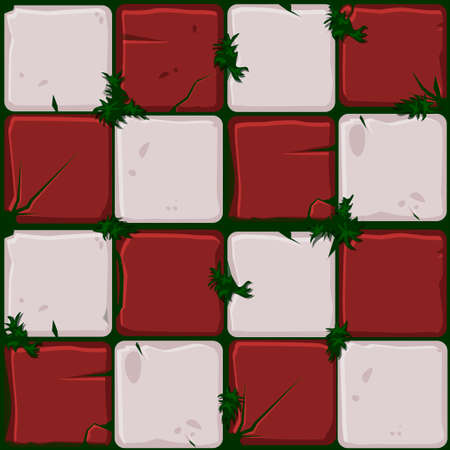 Texture of red stone tiles, seamless background stone wall and grass. Ilustration for user interface of the game element. Color 9 of 10