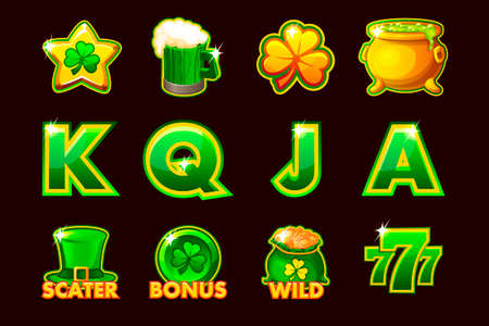 Vector Gaming icons of St.Patrick symbols for slot machines and a lottery or casino. Game casino, slot, UI