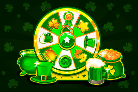 Cartoon Patricks lucky roulette, spinning fortune wheel. Holiday icons, vector illustration. Game assets, GUI active