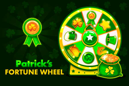 Cartoon Patrick's lucky roulette, spinning fortune wheel. Holiday icons, vector illustration. Game assets, GUI active