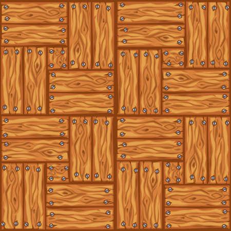 Cartoon wood floor tiles pattern. Seamless texture wooden parquet board. Vector illustration for user interface of the game element. Color 1