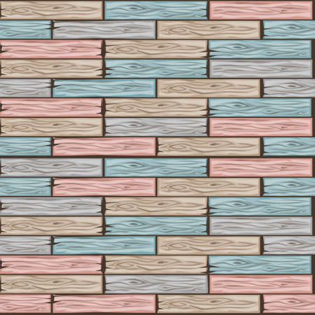 Vector wood floor tiles pattern. Seamless texture wooden pastel colors parquet board. Cartoon illustration for user interface of the game element. Color 5 Фото со стока - 126565332