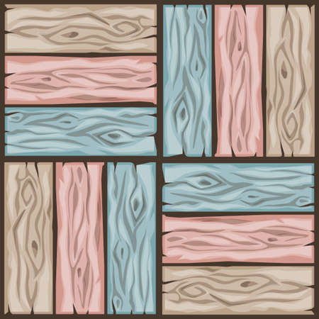 Cartoon wood floor tiles pattern. Seamless texture wooden pastel colors parquet board. Vector illustration for user interface of the game element. Color 5
