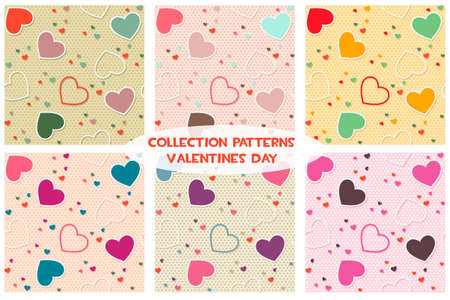 Cartoon Colored seamless pattern background valentine heart vector illustration printing onto fabric and scrapbook paper