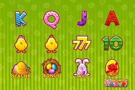 Cartoon set 12 paschals icons. Vector Gaming icon of Easter symbols for slot machines and a lottery or casino. Game casino, slot, UI
