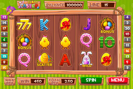 Vector Interface slot machine in cartoon wooden style for Easter holiday. Complete menu of graphical user interface and and full set of buttons and icons for classic casino games creation