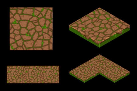 2D and Isometric ground seamless tile texture, color 1. Vector illustration for user interface of the game element. Фото со стока - 126062297