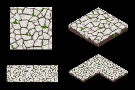 2D and Isometric ground seamless tile texture, color 1. Vector illustration for user interface of the game element.