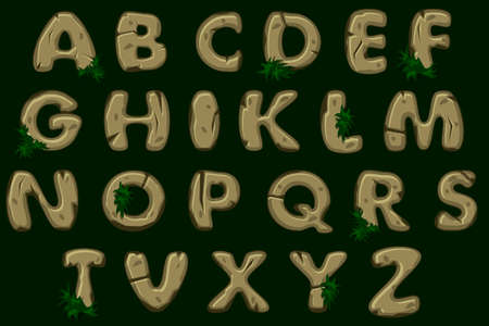 Cartoon brown stone alphabet font, vector ABC, view from above. Stock vector typeface for your design.