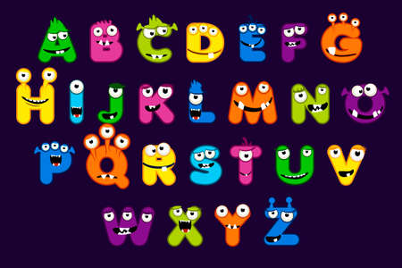 Cartoon alphabet font, MONSTER style. Funny monster letter set, Stock vector typeface for your design and UI Game, 向量圖像