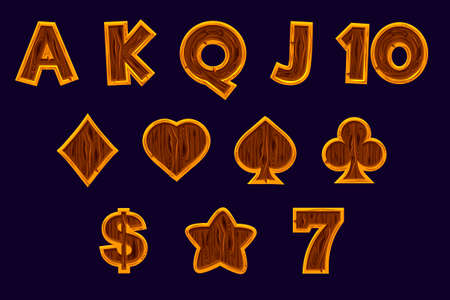 Sert Slot machine icons. Vector gaming icons of card symbols for slot machines or casino in wooden texture. Game casino, slot, UI