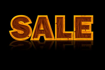 Big Wooden Letters Forming The Word Sale. Black Background, Reflection And Text On Separate Layers Иллюстрация