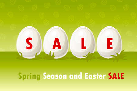 Happy Easter, eggs on grass. Spring and Easter sale offer, banner template. On Separate Layers Иллюстрация
