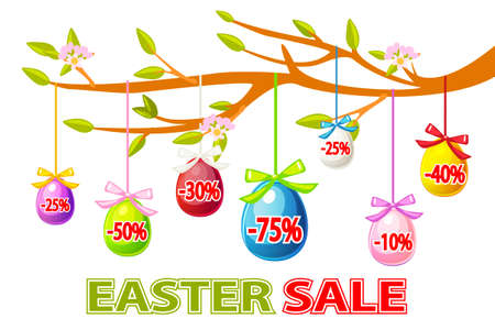 Easter sale offer, banner template. Vector Happy Easter, hanging eggs sale on a tree branch