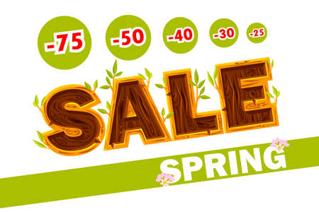 Wooden letters forming the word SALE. Spring sale offer, banner template. On Separate Layers Иллюстрация