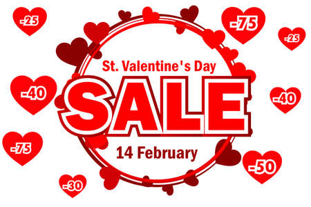 Wreath from hearts with the word SALE. St. Valentine day sale offer, banner template. On Separate Layers