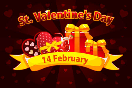 Vector Illustration For St. Valentine day. Romantic banner for Saint Valentine Day, greeting cards, poster. Objects on a separate layer