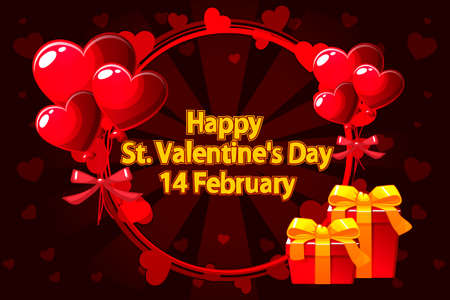 Vector Illustration For St. Valentine day. Romantic wreath for Saint Valentine Day, wedding invitations, hen-party, greeting cards, poster. Objects on a separate layer Иллюстрация