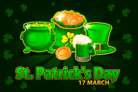 Illustration For Happy St. Patrick Day. Cartoon hat, beer glass, coin and money bag and pot with magic potion. Vector Greeting card, poster, banner. Objects on a separate layer Иллюстрация