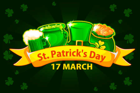Vector Illustration For Happy St. Patrick Day. Cartoon ribbon, beer glass, money bag and pot with magic potion. Greeting card, poster, banner. Objects on a separate layer Иллюстрация