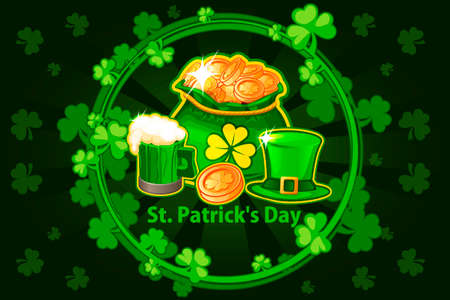Illustration For Happy St. Patrick Day. Cartoon hat, beer glass, coin and money bag. Vector round frame with shamrock leaves. Greeting card, poster, banner. Objects on a separate layer