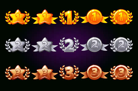 Vector Golden, silver and bronze rewards icons set. 1st, 2nd, 3rd place different variation. Laurel wreath of victory and gold star or game, ui, banner, app, interface, slots, game development Иллюстрация