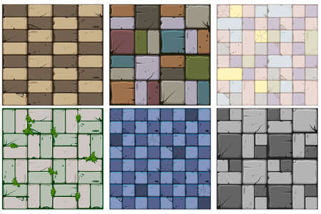 Texture of old stone tiles, seamless background stone wall and grass. Illustration for user interface of the game element. Set 2 of 2