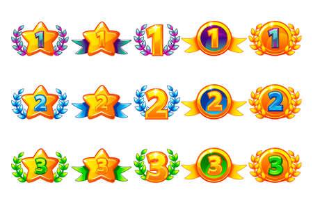 Vektor farbige Belohnungen Icons Set. 1., 2., 3. Platz verschiedene Variante. Lorbeerkranz des Sieges und Goldstern oder Spiel, Benutzeroberfläche, Banner, App, Benutzeroberfläche, Slots, Spielentwicklung