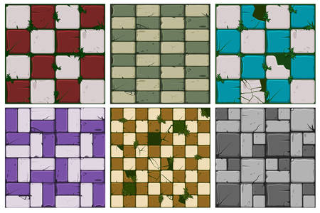 Texture of old stone tiles, seamless background stone wall and grass. Illustration for user interface of the game element. Set 1 of 2