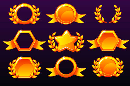 Gold templates for awards, creating icons for mobile games. Isolated on a separate layers. Vector concept gambling assets, set Mobile App Icons different forms and Laurel wreath of victory.