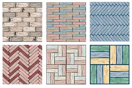 Vector illustration for user interface of the game element. Set wood floor tiles pattern. Seamless texture wooden pastel colors parquet board. Illustration