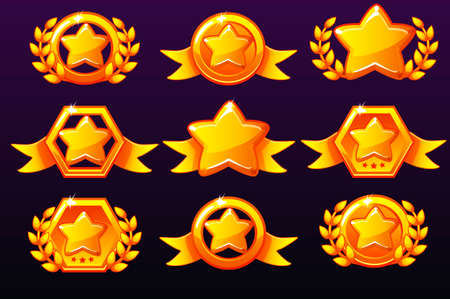 Gold templates star icons for awards, creating icons for mobile games. Vector concept gambling assets, set Mobile App Icons different forms and Laurel wreath of victory. Isolated on a separate layers