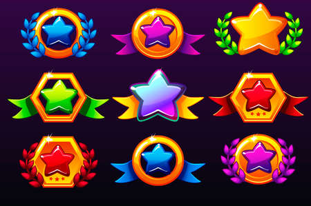 Coloured templates star icons for awards, creating icons for mobile games. Vector concept gambling assets, set Mobile App Icons different forms and Laurel wreath of victory. Icons on a separate layers