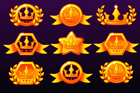 Gold templates crown icons for awards, creating icons for mobile games. Vector concept gambling assets, set Mobile App Icons different forms and Laurel wreath of victory. Isolated on a separate layers Иллюстрация