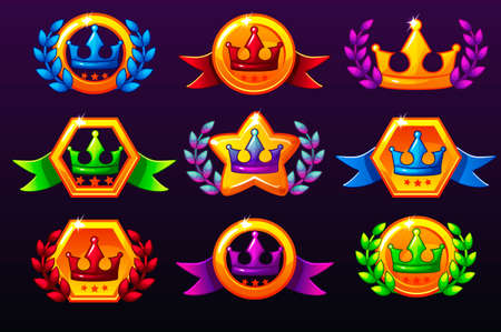 Coloured templates crown icons for awards, creating icons for mobile games. Vector concept gambling assets, set Mobile App Icons different forms and Laurel wreath of victory. Medals on separate layers Иллюстрация