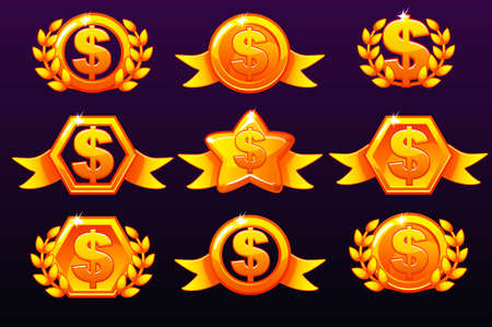 Gold templates dollar icons for awards, creating icons for mobile games. Vector concept gambling assets, set Mobile App Icons different forms and Laurel wreath of victory. Icons on a separate layers Иллюстрация
