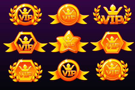 Gold templates VIP icons for awards, creating icons for mobile games. Vector concept gambling assets, set Mobile App Icons different forms and Laurel wreath of victory. Isolated on a separate layers