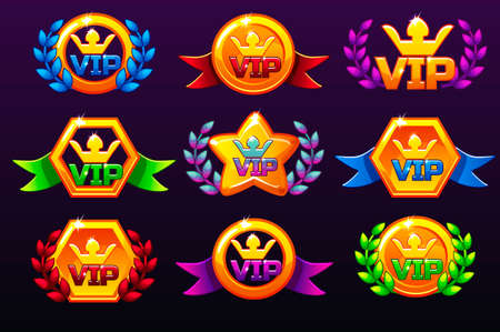 Coloured templates VIP icons for awards, creating icons for mobile games. Vector concept gambling assets, set Mobile App Icons different forms and Laurel wreath of victory. Icons on a separate layers