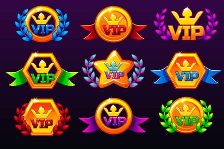 Modèles colorés Icônes VIP pour les récompenses, création d'icônes pour les jeux mobiles. Actifs de jeu de concept vectoriel, définir différentes formes d'icônes d'application mobile et couronne de laurier de victoire. Icônes sur des calques séparés