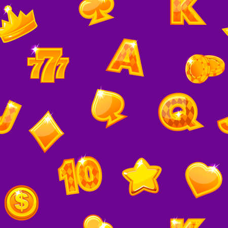 Background with gold casino icons on purple, seamless repeating pattern. Vector illustration.